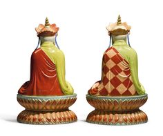 TWO EXTREMELY RARE FAMILLE-ROSE FIGURES OF KSITIGARBHA  QING DYNASTY, QIANLONG / JIAQING PERIOD