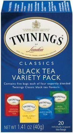 Twinings Tea Sampler, Black Tea Variety Pack - I got one last year but I finished it ~ Lady Grey Tea, Irish Breakfast Tea, Twinings Tea, Tea Varieties, Black Tea Bags, Tea Station, Tea Blends, Herbal Tea, Drinking Tea