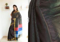 Silk Sarees - Bold black hand woven Raw silk Zari saree with golden border PC 16641 - Main