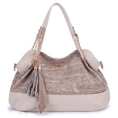 Fashionable Snake Print and Tassels Design Tote Bag For Women