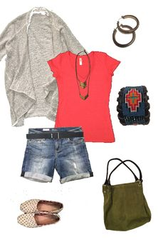 Stitch Fix sweater, denim shorts, & necklace