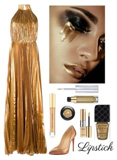 """Golden Metallic Lips"" by kotnourka ❤ liked on Polyvore featuring beauty, Maria Lucia Hohan, Christian Louboutin, Gucci, Yves Saint Laurent, Lancôme, Urban Decay and Kevyn Aucoin"