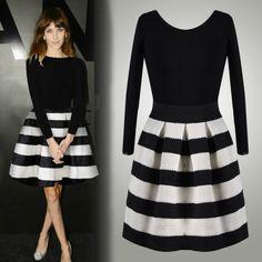 Fashion Ladies Cute Sweet Wearing Black White Striped Stitching Lovely Dress