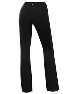 Yoga Reflex Women's Boot-Leg Fitness Yoga Running Lounge Pants Workout Leggings , Black , Large -- More info could be found at the image url.