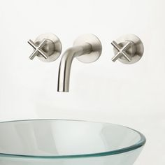 Exira Wall-Mount Bathroom Faucet - Cross Handles - Wall Mount Faucets - Bathroom Sink Faucets - Bathroom