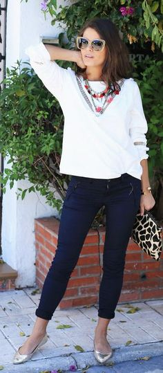 Golden Flats Outfit Idea by Seams For a Desire