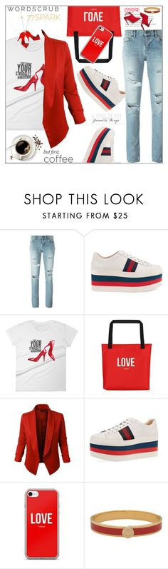 """""""#77spark"""" by bilbomex ❤ liked on Polyvore featuring Yves Saint Laurent, Gucci, LE3NO, Halcyon Days and Any Old Iron"""