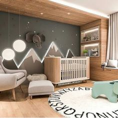 Baby Room Inspiration Illuminated Mountains The post Baby Room Inspiration Illuminated Mountains appeared first on kinderzimmer. Baby Bedroom, Baby Boy Rooms, Baby Boy Nurseries, Kids Bedroom, Room Baby, Baby Nursery Ideas For Boy, Nursery Room Ideas, Baby Room Decor For Boys, Newborn Room