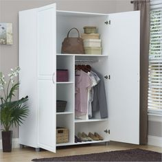 Solid Closet Storage Wardrobe Armoire Cabinet Bedroom Furniture Clothes Wood Organizer New White Dresser Wardrobe Storage Cabinet, White Storage Cabinets, Dresser Storage, Wardrobe Cabinets, Closet Storage, Bedroom Storage, Tall Cabinet Storage, Armoire Wardrobe, Wardrobe Closet