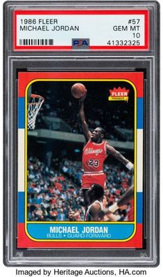 db8ddb96c3b 1986 Fleer Michael Jordan  57 PSA Gem Mint 10.... Basketball Cards