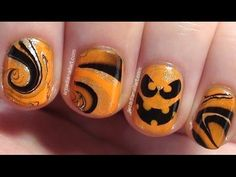Halloween water marble nails with an easy nail art pumpkin face! ❀ Blog - http://www.arcadianailart.com ✼ Twitter - https://twitter.com/ArcadiaNailArt ✼ Pint...
