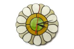 Wall Clock Gerbera Daisy in Retro style - Unique Stained Glass Flower Wall Art - Home and Kitchen Decor with floral design by ZangerGlass on Etsy https://www.etsy.com/listing/238623762/wall-clock-gerbera-daisy-in-retro-style