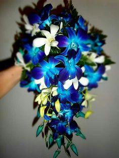 Cascade Wedding Bouquet: White Dendrobium Orchids & Buds + Blue Dendrobium Orchids & Buds + Green Leather Leaf Fern + Greenery/Foliage