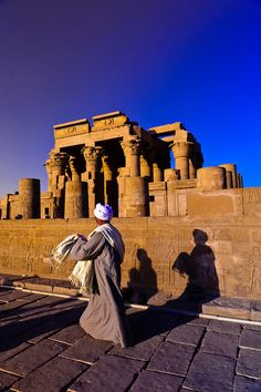 Temple of Haruris and Sobek at Kom Ombo, on the Nile River, Egypt the sky really is that blue!