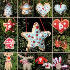 Assorted Felt Ornaments- great inspirations. Love, love, love the reindeer & sweaters!