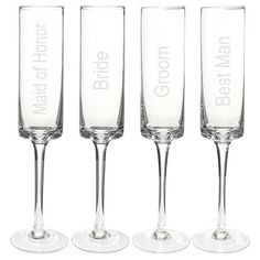 \'Wedding Party\' Contemporary Champagne Flutes (Set of - A set of modern, handblown glass champagne flutes are etched in honor of the bride, groom, maid of honor and best man. Champagne Party, Champagne Glasses, Old Fashioned Glass, Highball Glass, Wine Glass Set, Wedding Wishes, Wedding Gifts, Wedding Bells, Wedding Favors