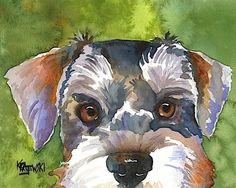 Miniature Schnauzer 8x10 Signed Art Print RJK from Watercolor Painting | eBay