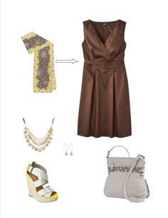 l'il blossom scarf and l'il blossom popcross body from thirty one turn this brown dress into WoW!