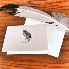 Personalized Owl Stationery Thank You Note 100% Cotton Savoy Paper  - Set of 12 - FREE Gift Wrap on Etsy, $15.00