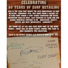 We turned 60 today!! Way back on Feb 14, 1954, Hobie Alter swung open the very first set of our Surf Shop doors! It's been a great ride so f...