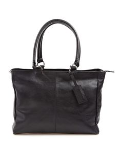 Leather tote bag with tassel detail