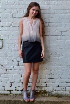 How I Wonder Top, faux leather black skirt, and #otbt booties #ootd