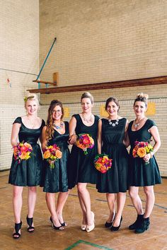 black bridesmaid dresses - photo by Danfredo Photos and Films http://ruffledblog.com/back-to-school-wedding-inspiration