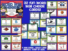 Word Wall Cheer Cards... Get kids moving while they practice spelling/chanting sight words. $