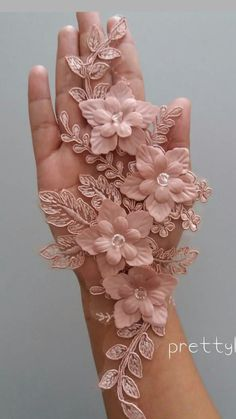 Luxury gray lace fabric hand made pearl beads flowers Hand Embroidery Dress, Tambour Embroidery, Floral Embroidery Patterns, Couture Embroidery, Silk Ribbon Embroidery, Hand Embroidery Designs, Embroidery Applique, Sewing Patterns, Lace Flowers