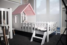 Solid Wood Kids House Bed-Bluish grey