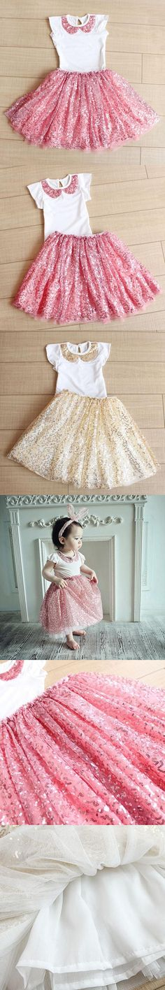 Brand New Summer Girls Clothing Set 2016 Girls Sequins Skirt Two Pieces High quality Suit Princess Kids Clothes