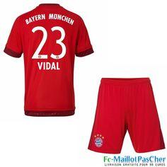 Nouveau Maillot foot Bayern Munich Rouge Enfant VIDAL 23 Domicile 15 2016 2017