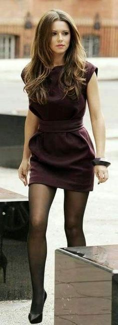 Super cute fall outfit look! I love the dress with tights look! The color looks amazing as well!