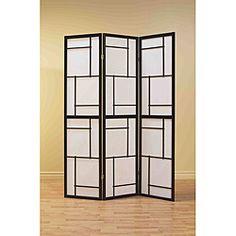 Black Wood Framed 3-panel Room Divider | Overstock.com Shopping - Great Deals on Monarch Decorative Screens
