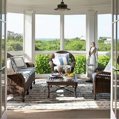Arrange furniture to take advantage of open windows and beautiful views. More sunroom decorating: http://www.bhg.com/home-improvement/porch/sunroom-decorating-and-design-ideas/?socsrc=bhgpin070513view=10