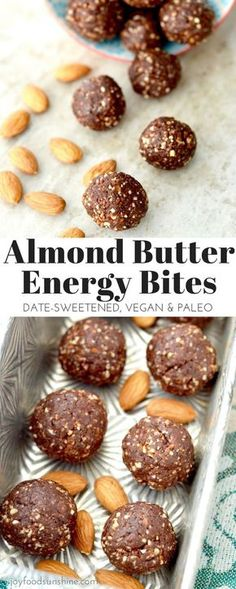 Chocolate Almond Butter Energy Balls are made with 7 ingredients and come together in 10 minutes! They are the perfect easy & healthy snack recipe! Paleo, gluten-free, dairy-free, date-sweetened & vegan! Dairy Free Recipes, Raw Food Recipes, Snack Recipes, Cooking Recipes, Healthy Recipes, Gluten Free, Diet Recipes, Easy Cooking, Lactose Free