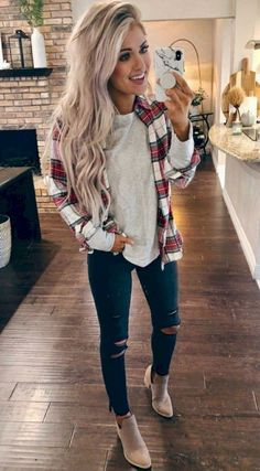 Glamorous fashion inspiration 2019 cute outfits for winter, cute casual outfits, winter flannel outfits Casual Winter Outfits, Winter Fashion Outfits, Casual Fall Outfits, Fall Fashion Trends, Look Fashion, Trendy Outfits, Autumn Fashion, Cute Flannel Outfits, Fashion Black