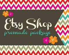 Premade Etsy Shop Banner Avatar Set  Premade by Simply Creative Shop - Chevron Zig Zag Flowers Design
