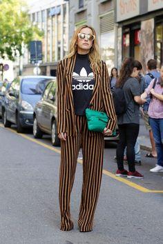 Milan Fashion Week September 2015   yellow and black striped trousers