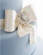 Elegant, Ivory and Sparkle Cake Bow