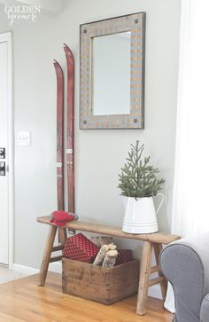 Christmas vignette with vintage red skis - thegoldensycamore.com