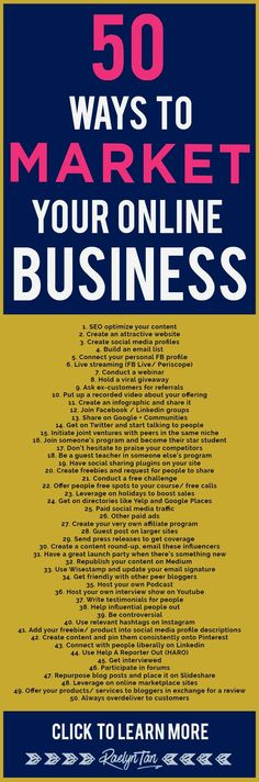 How to market your o  How to market your online business: 50 marketing tips and ideas to successfully make money as an online entrepreneur.  https://www.pinterest.com/pin/55591376631326540/