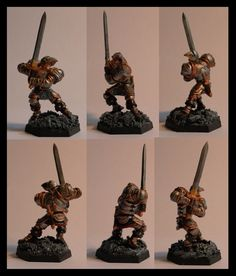 Human fighter-blackguard (converted to good in our PnP campaign); Reaper Miniatures, from toe to top 33mm. The right half of his face is scared over and he lost his left eye. I chose a barren and rocky base design for him, somehow symbolically matches his life ;)