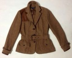 Ralph Lauren Equestrian Riding Trench? Coat Jacket Leather Wool Silk Italy RARE