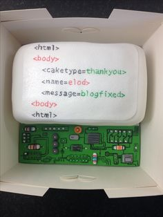 Computer HTML circuit board / motherboard geek cake! A thank you to a colleague for fixing my blog! HTML on wafer paper with edible pens.