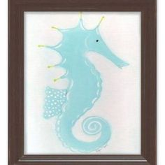 Doodlefish Sea Creatures Stormy the Seahorse Framed Art Frame Color: Brown