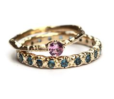 Pink sapphire and indicolite tourmaline 14k gold rings. Handmade by Nadine Kieft Jewelry Amsterdam. www.nadinekieft.com