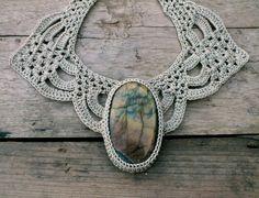 Fashion necklace OOAK Statement necklace Crochet by AmorArt