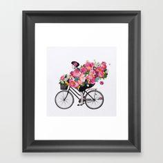 peonies, pink, girl, bike, woman, flowers, roses, bicycle,