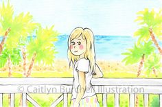 By the Sea. Art by Caitlyn Burchell Illustration Sea Art, Princess Zelda, Disney Princess, Watercolor Paintings, To My Daughter, Disney Characters, Fictional Characters, Aurora Sleeping Beauty, Colour